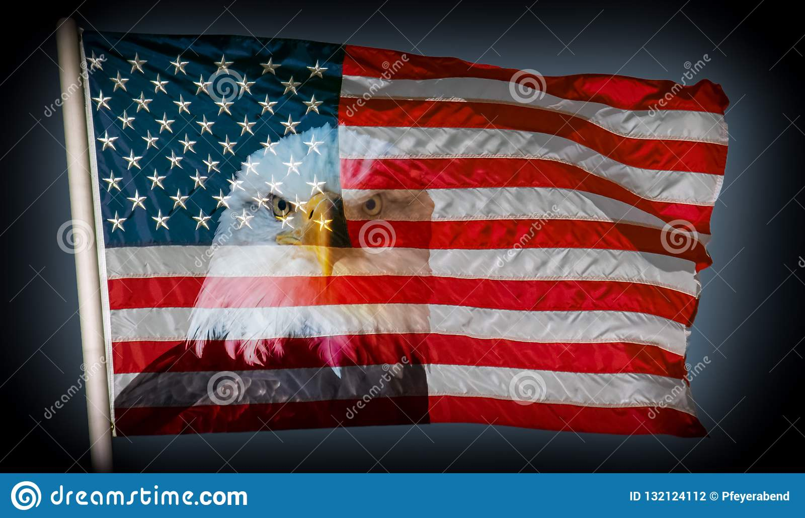Always vigilant american flag and bald eagle dark background