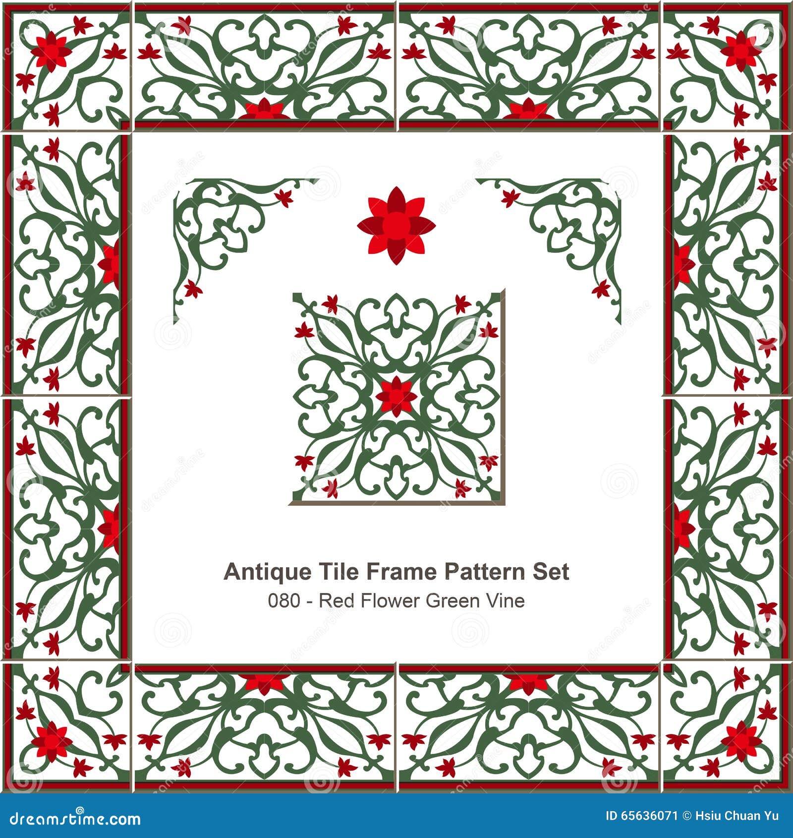 Vigne rouge antique de vert de fleur du modèle set_080 de cadre de tuile