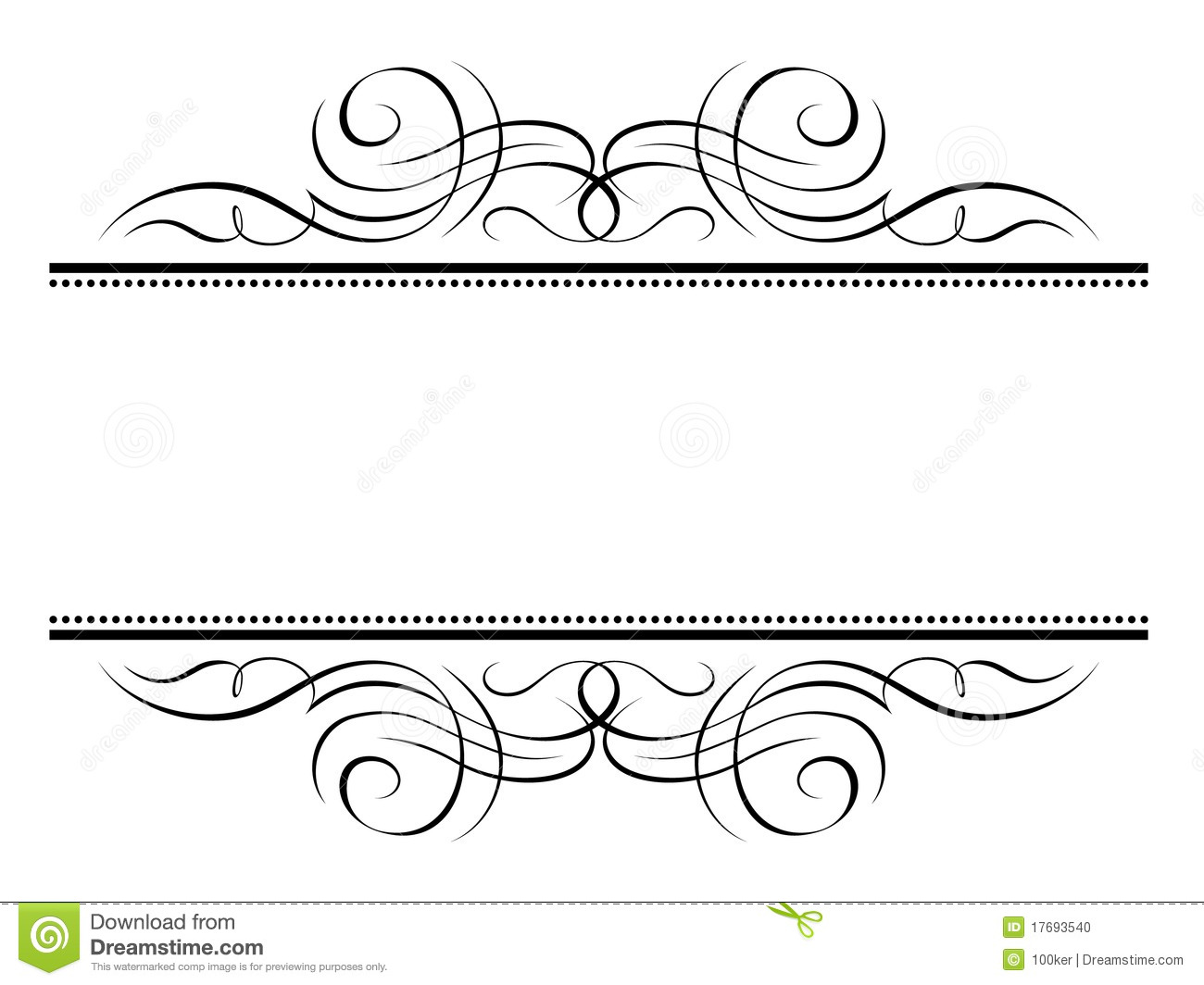 Simple Swirl Border Vignette penmanship decorative