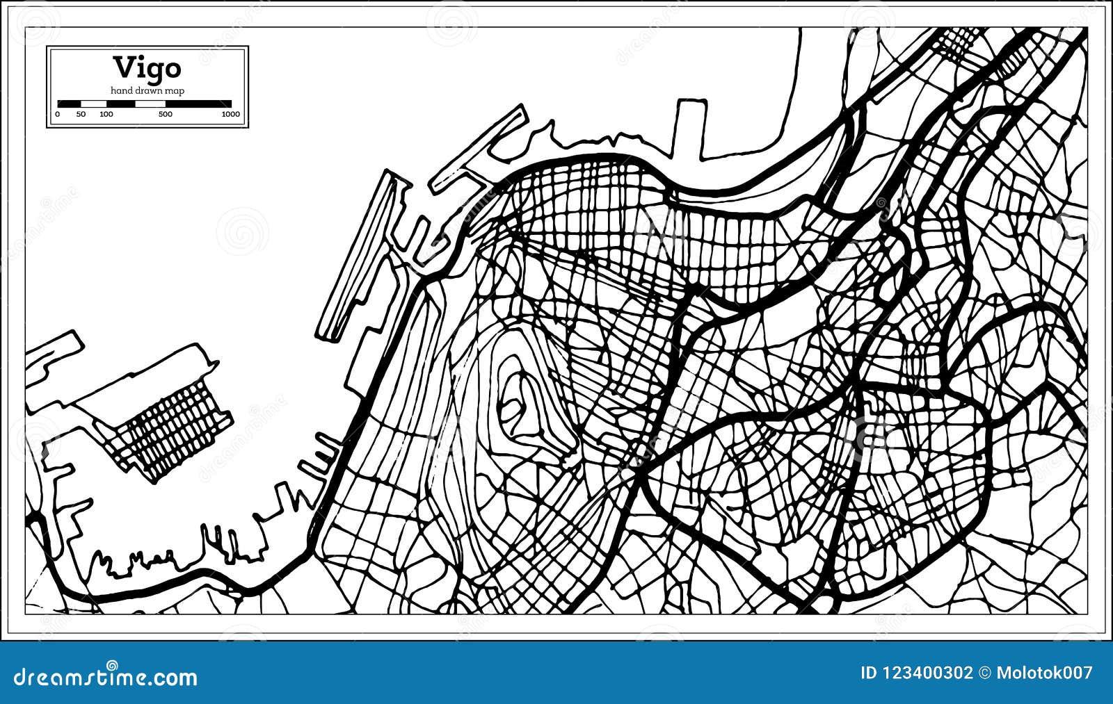 Map Of Spain Vigo.Vigo Spain City Map In Retro Style Outline Map Stock Vector