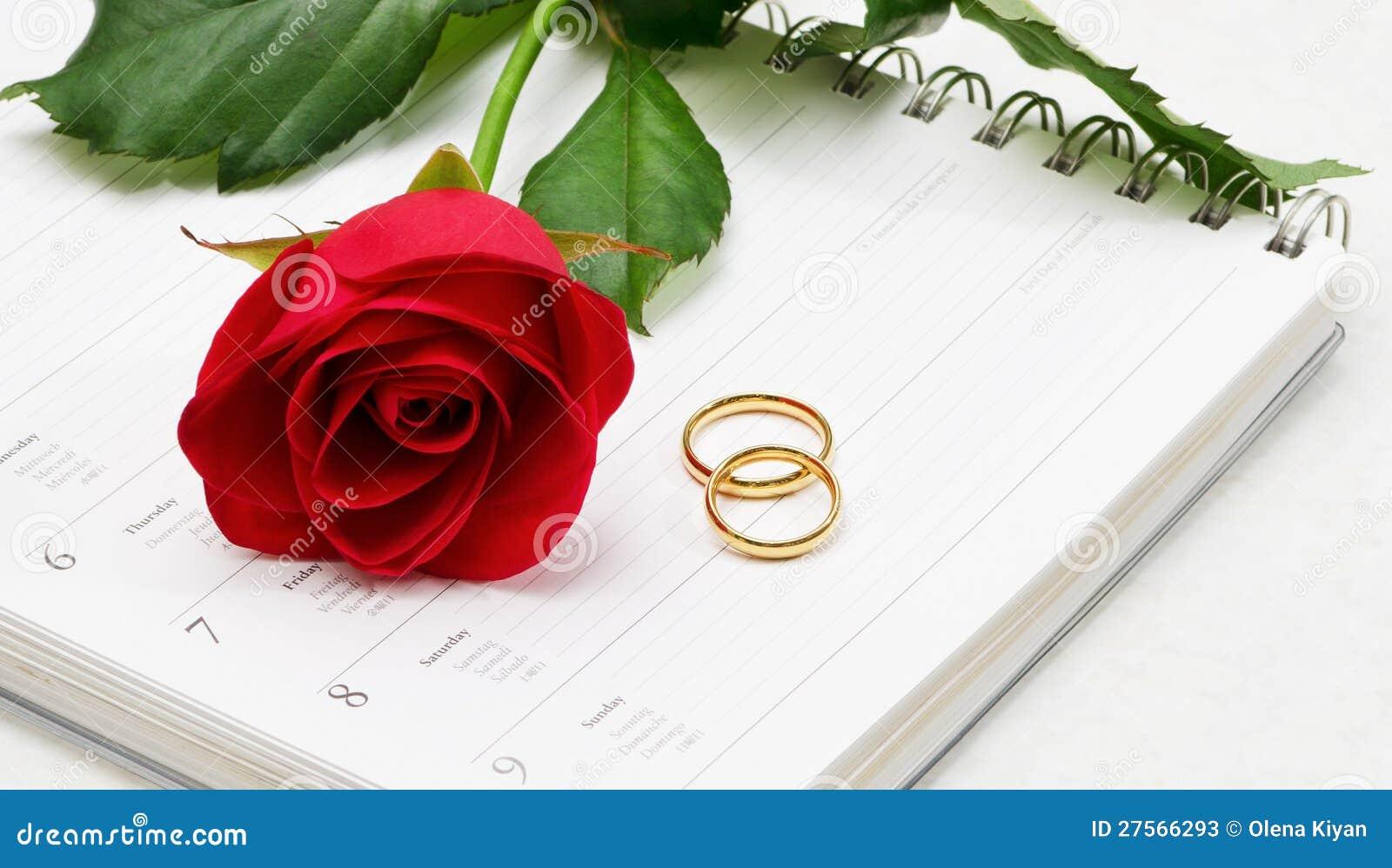 Vigselringar & röda Rose