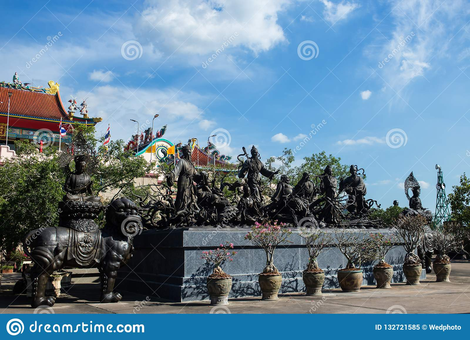 Viharnra Sien Anek Kusala Sala Chinese Temple In Pattaya, Chonburi, Thailand. Black statues of shaolin wariors. Museum
