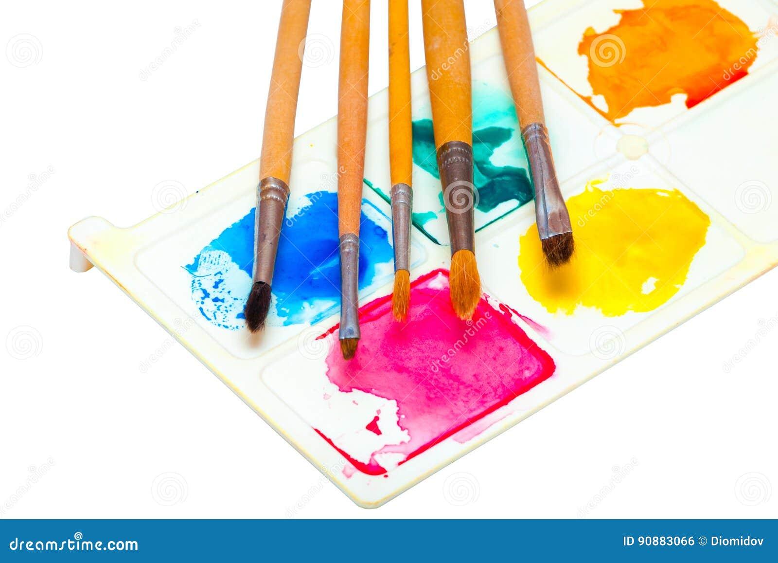 Vijf borstels voor het schilderen van waterverf op een palet met verven op een witte achtergrond