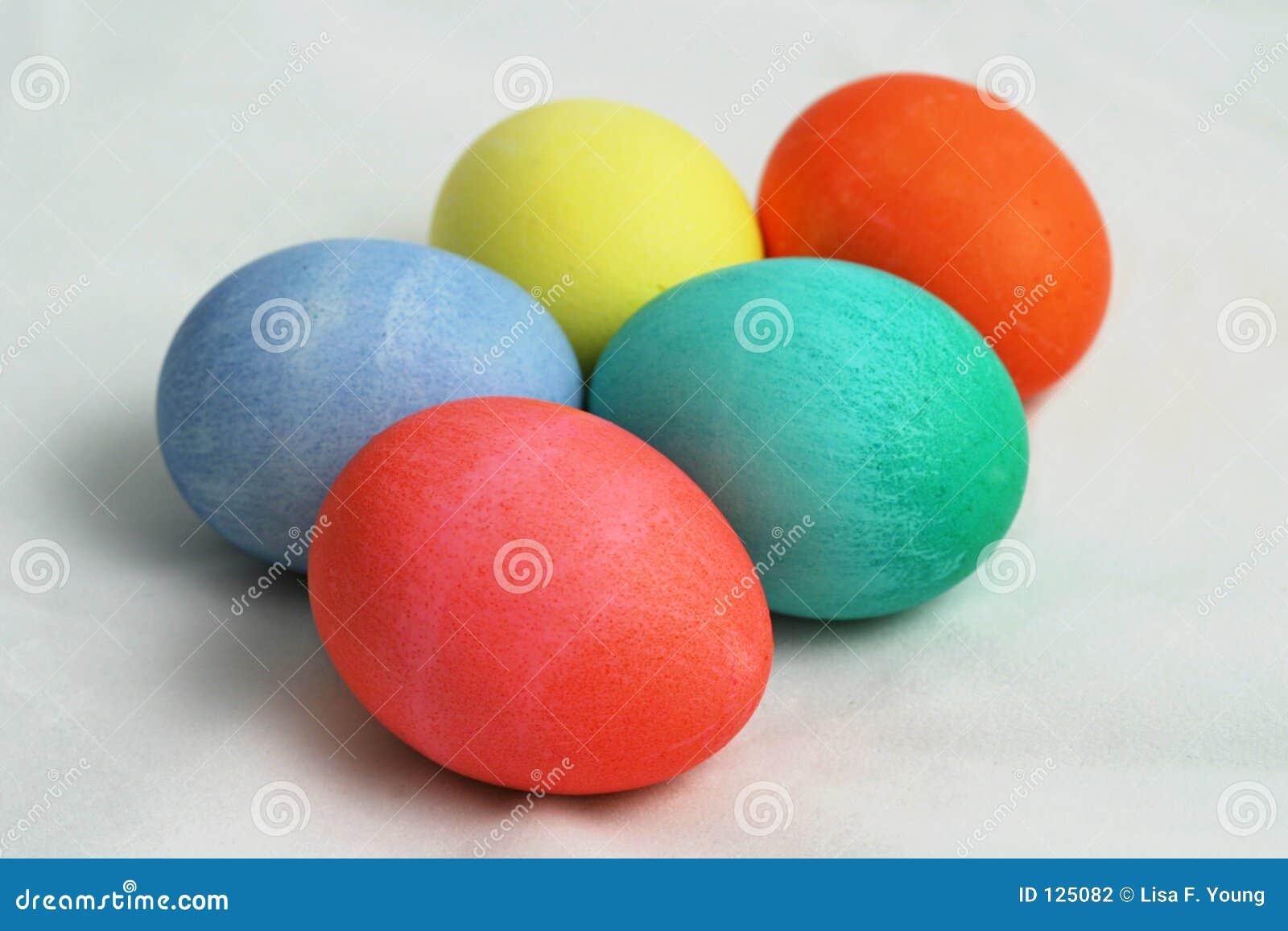 Vijf Gekleurde Paaseieren 1