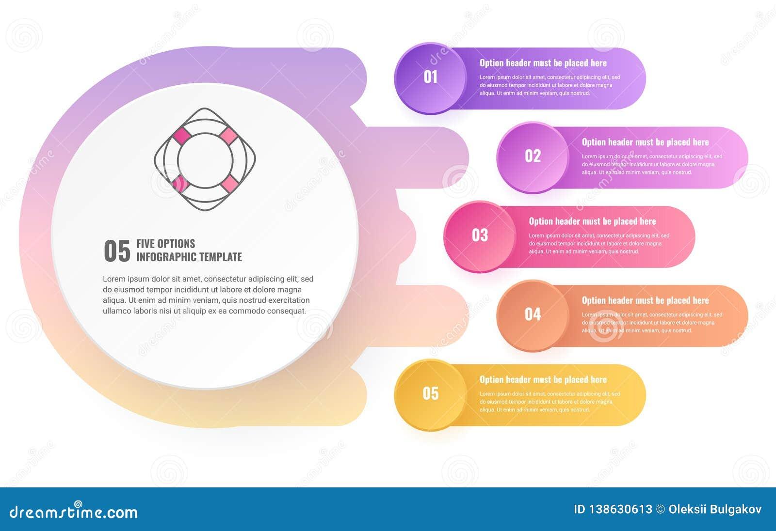 Vijf opties infographic malplaatje