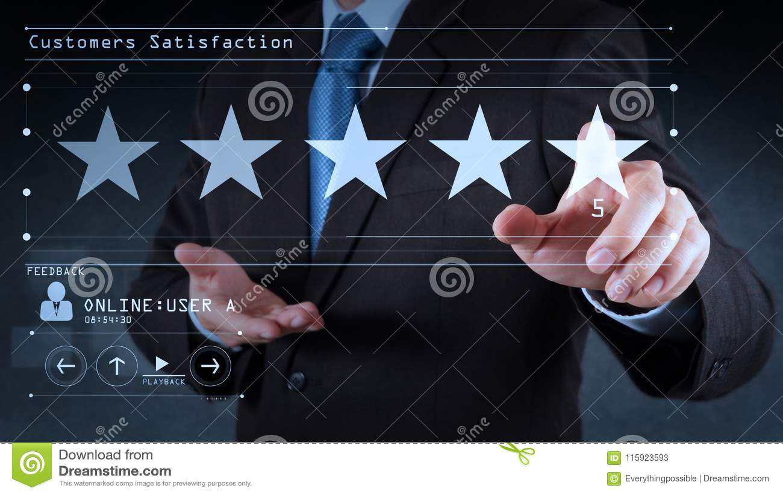 Vijf sterren 5 die met een zakenman schatten raakt het virtuele computerscherm Voor positieve klant
