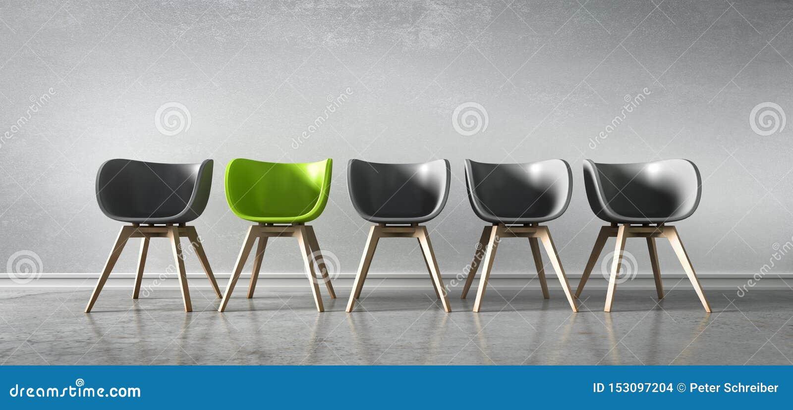 Vijf stoelen op een rij - conceptenbespreking