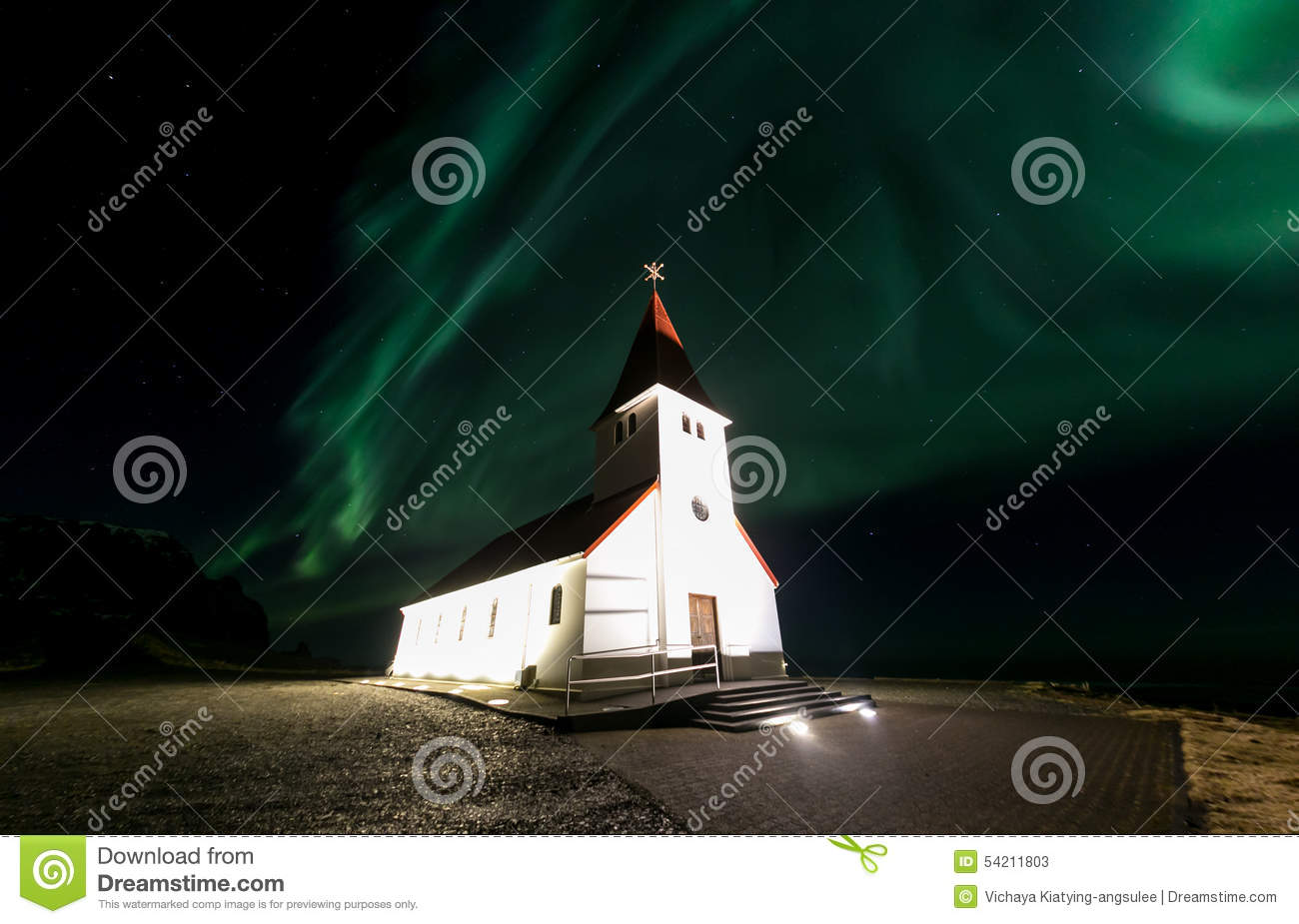 Download Vik Church Aurora Iceland stock image. Image of range - 54211803