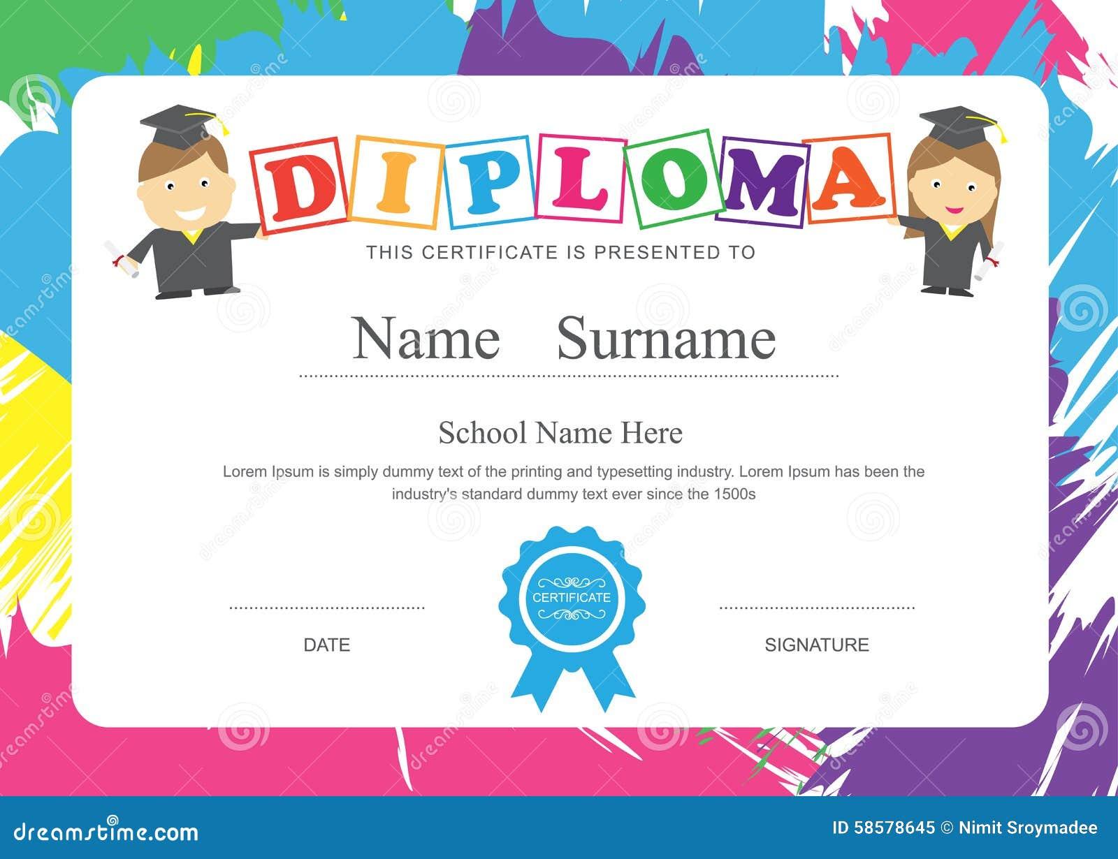 Vikarier för design för grundskola för certifikat för ungediplom förskole-