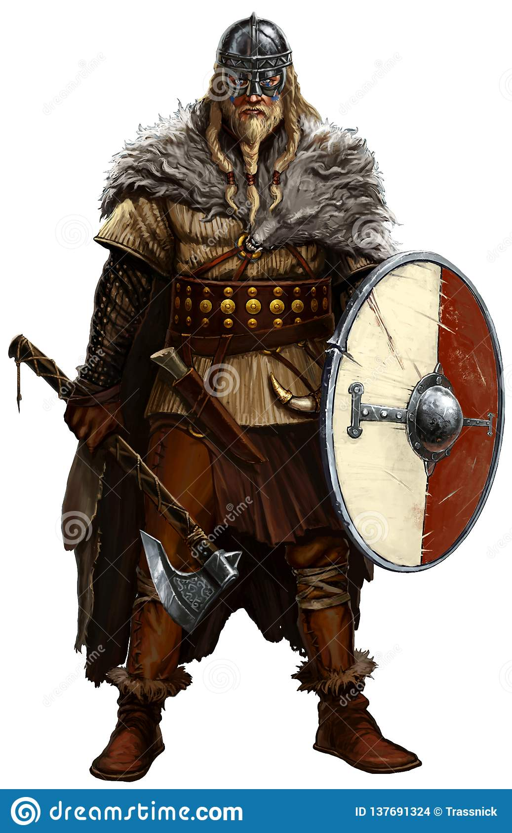 Viking with ax and shield on white.