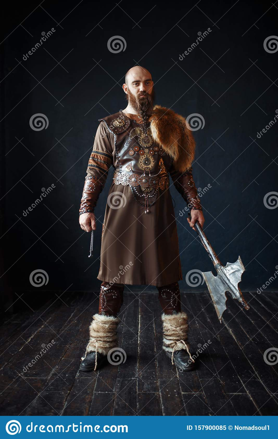 Viking With Axe In Traditional Nordic Clothes Stock Image Image Of Male Clothes 157900085