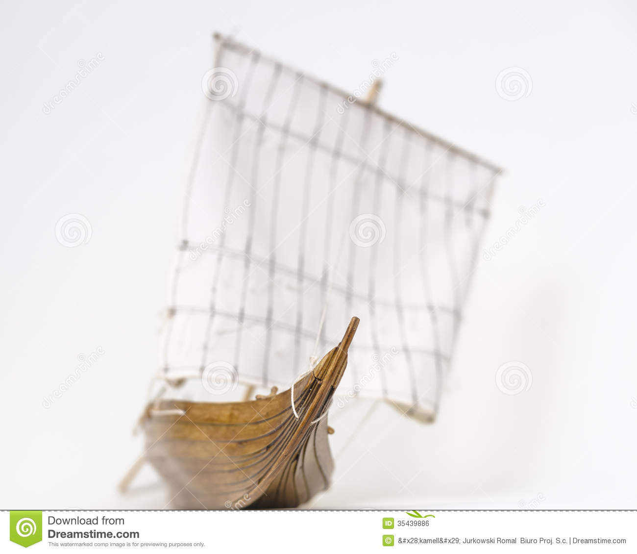 Wooden model Viking ship . Background blur. A small depth of field.