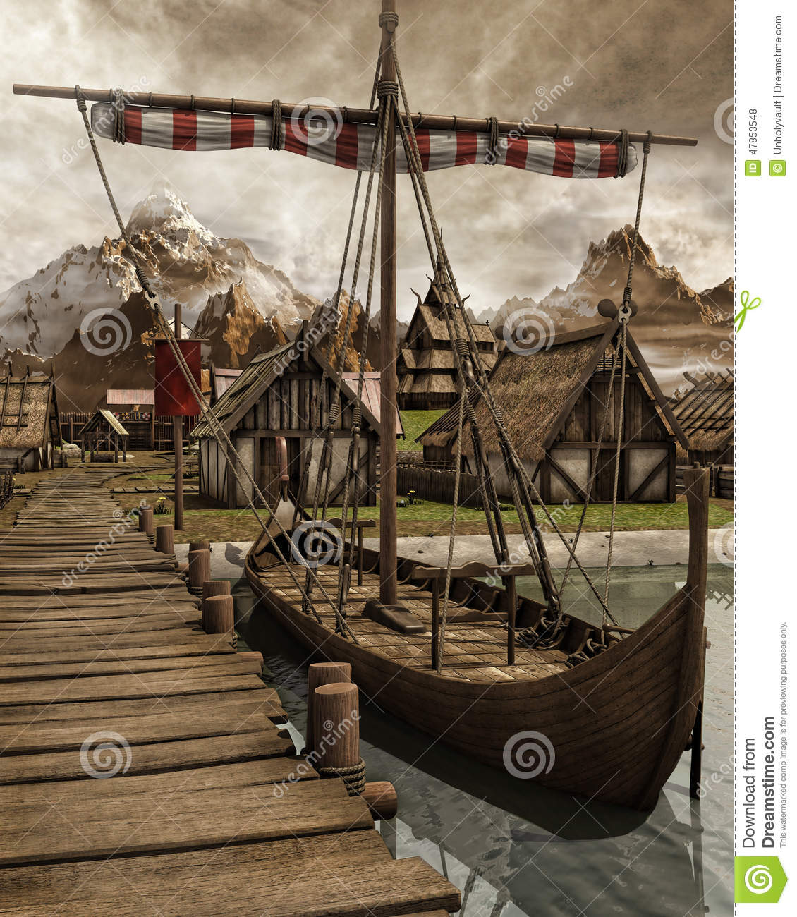 Viking Boat In A Village Stock Illustration - Image: 47853548