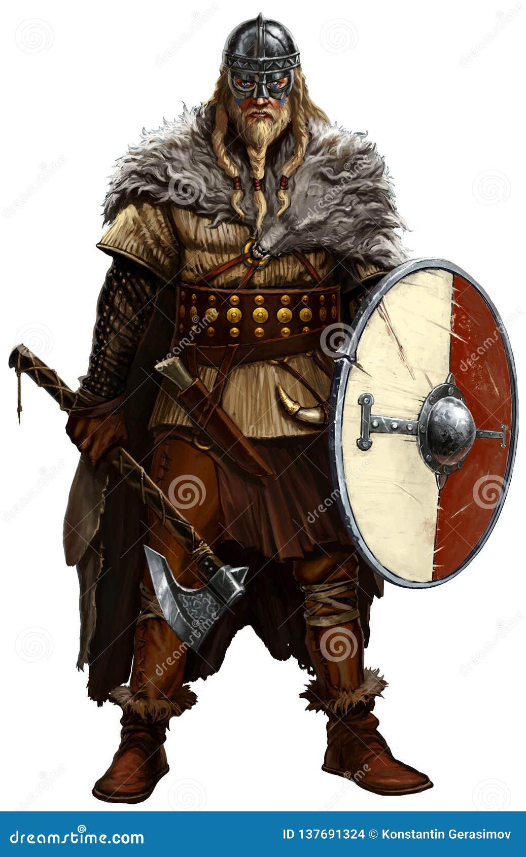Viking con el hacha y el escudo en blanco