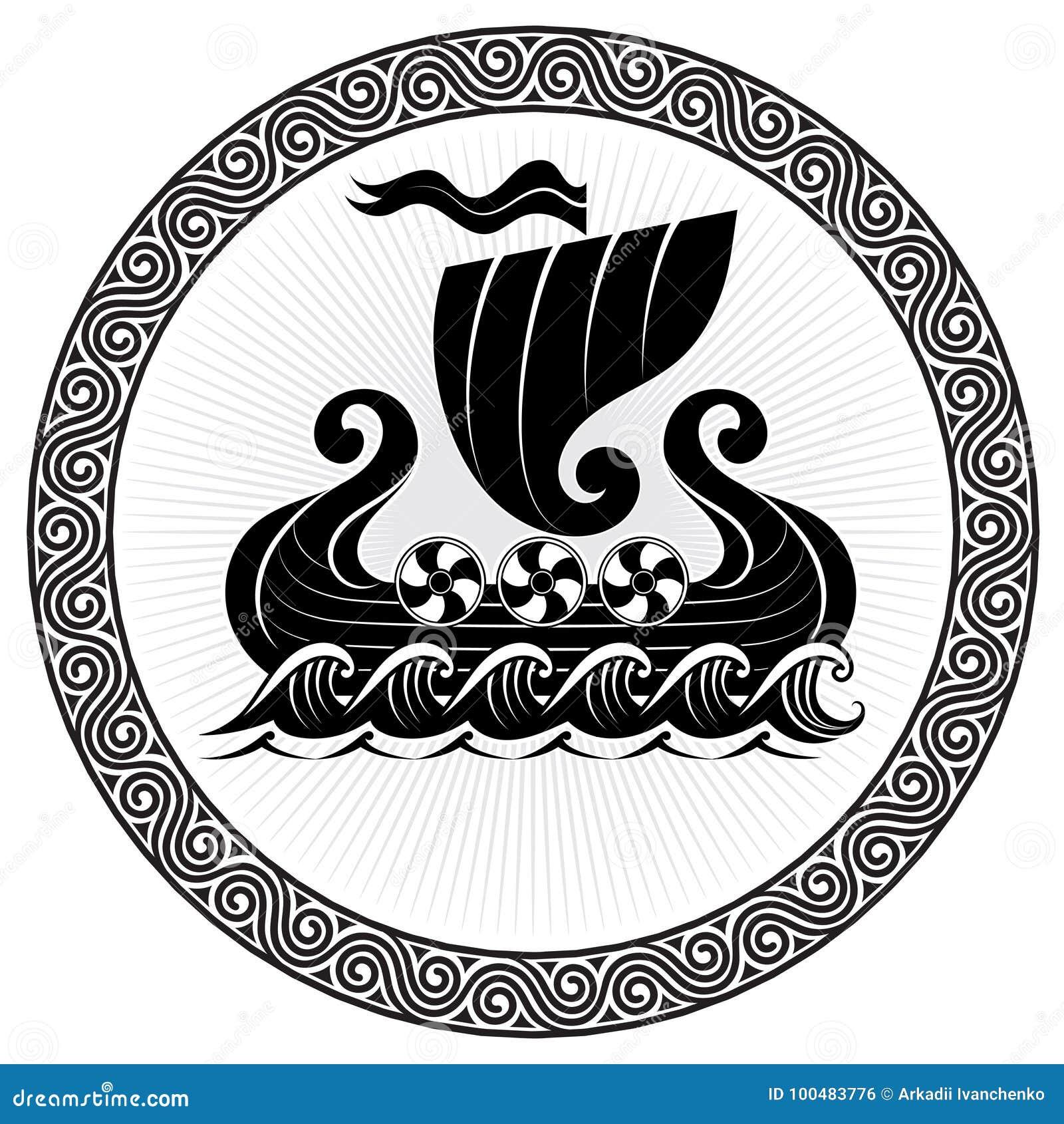 Viking Drakkar. Drakkar Ship Sailing On The Stormy Sea ...