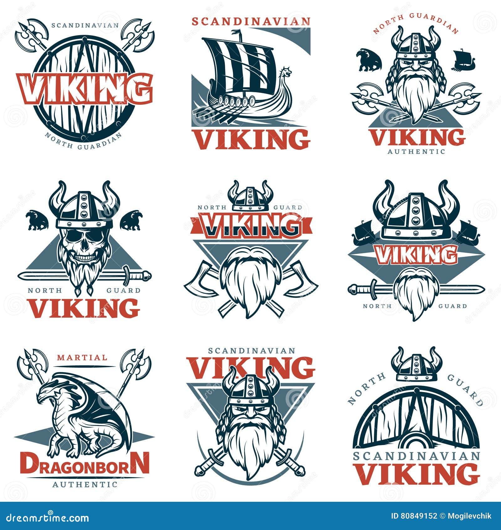 Viking Emblem Set coloreado