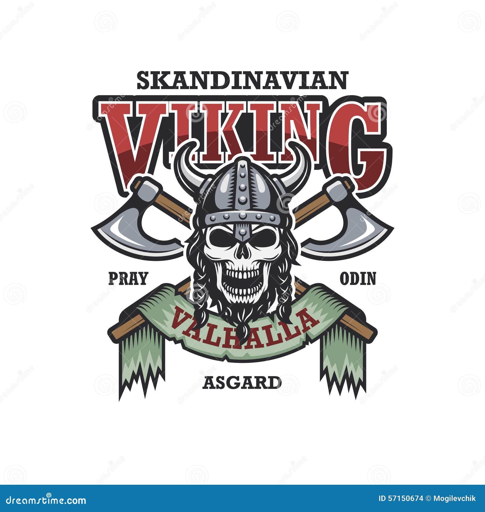 Viking emblem on white background
