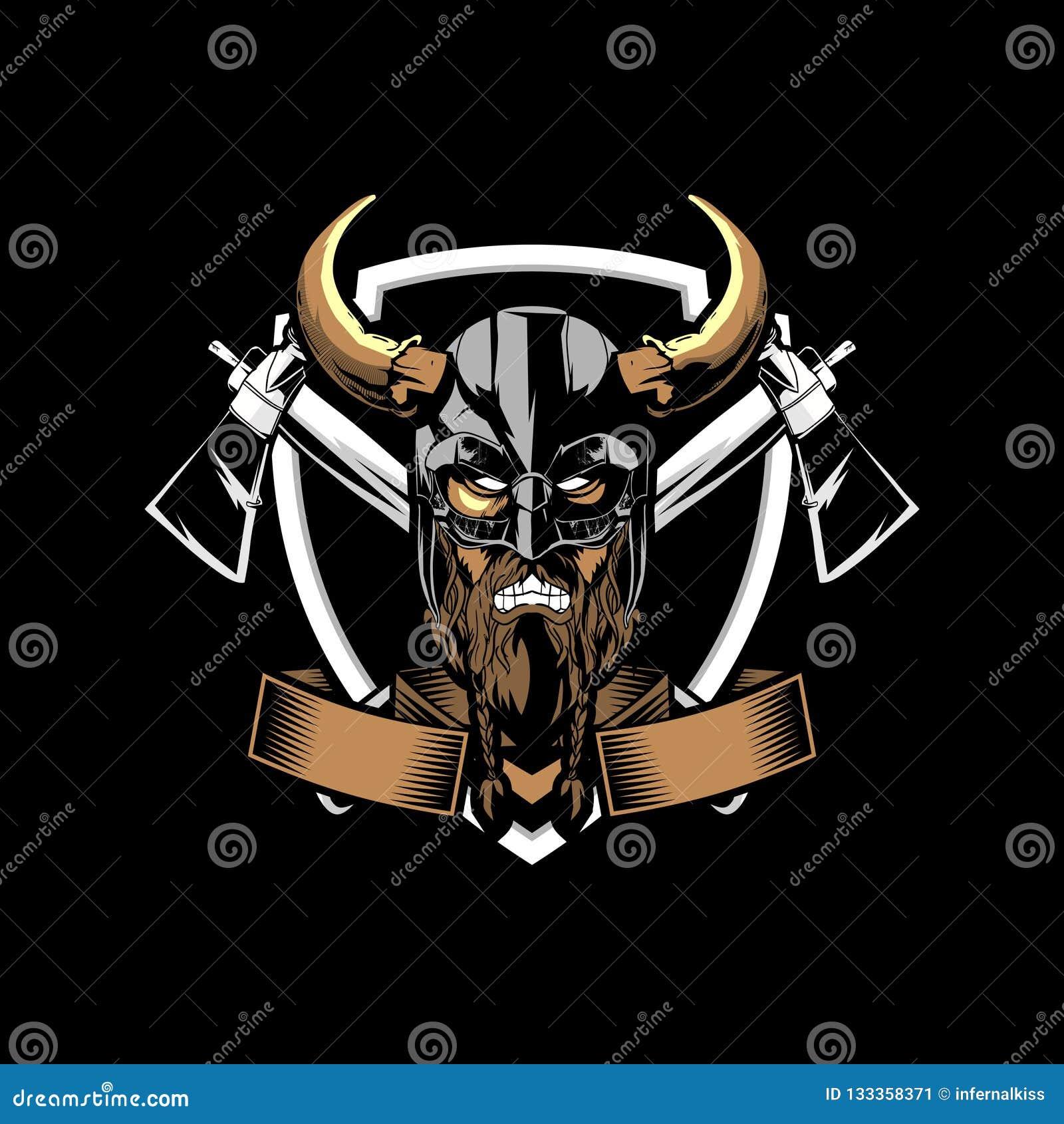 Viking fâché étonnant et unique avec le calibre de logo d insigne de vecteur de hache et de bouclier