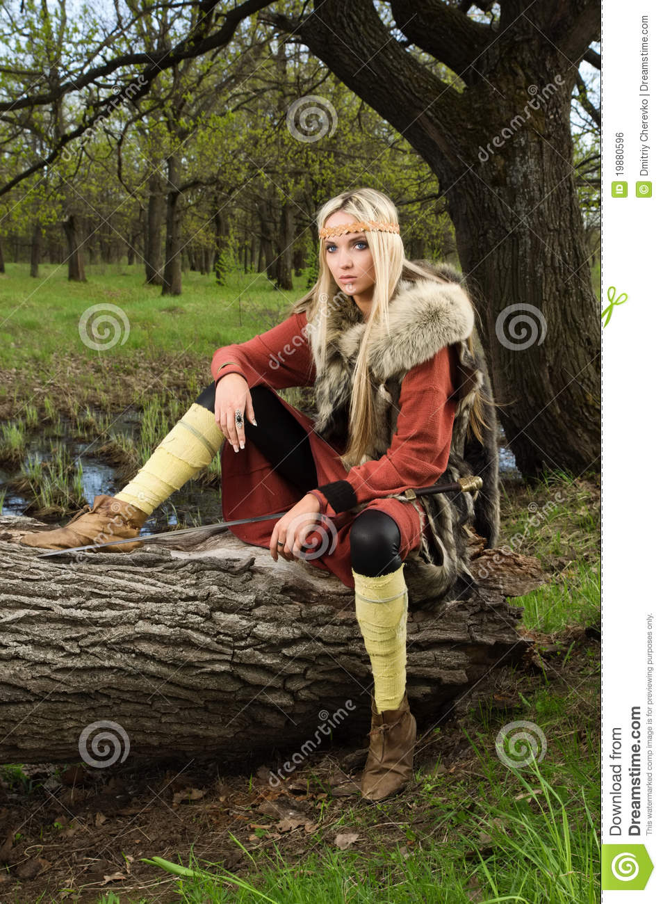 Viking Girl With Sword In A Wood Stock Photo Image 19880596