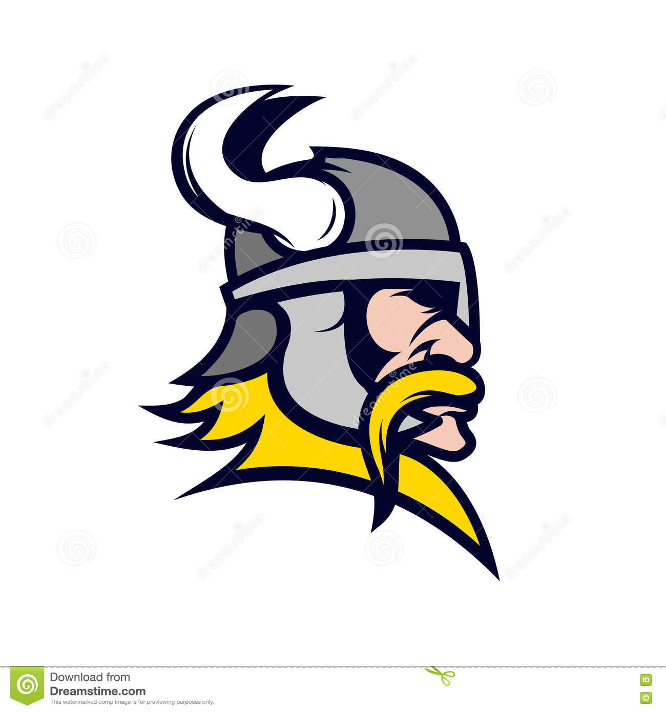 Ancient Viking Head Logo For Mascot Design Cartoon Vector