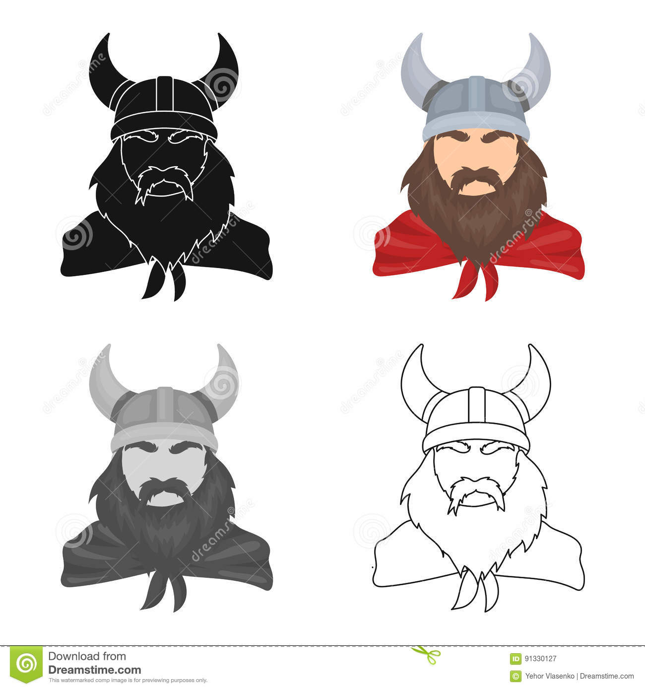 Viking Icon In Cartoon Style Isolated On White Background Vikings