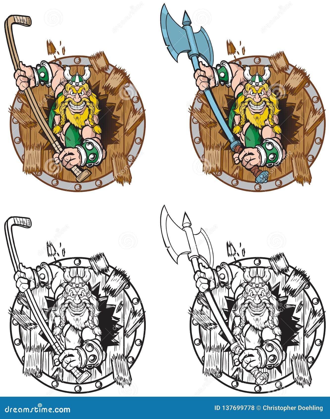 Viking Mascot Breaking Through Wood Shield
