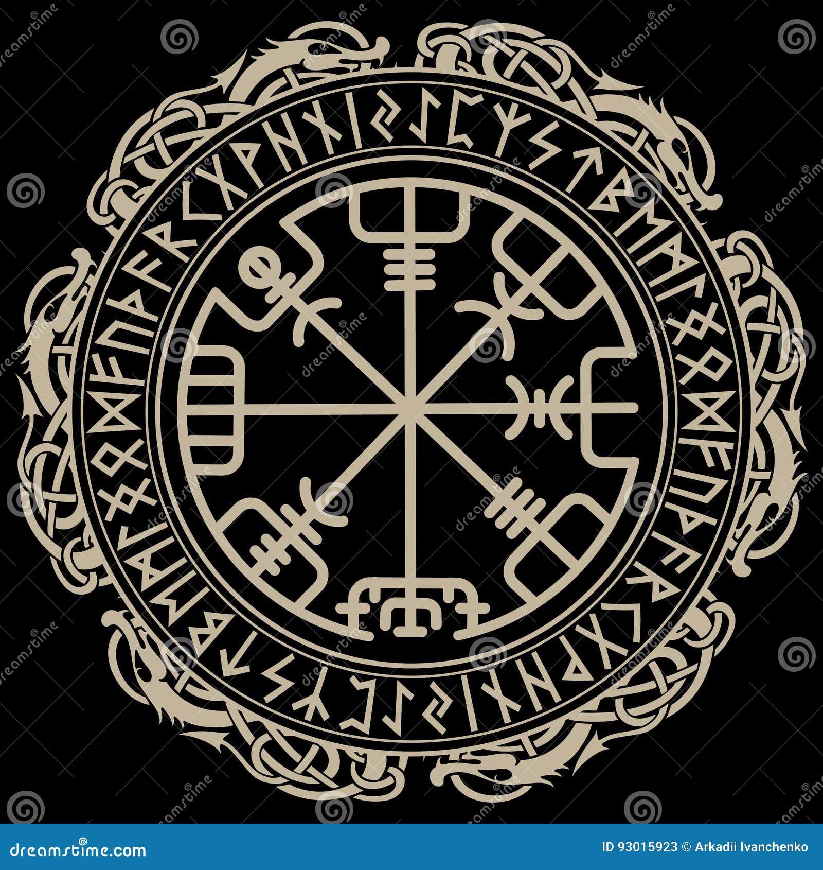 Viking Ontwerp Magisch Runen Kompas Vegvisir In De Cirkel Van