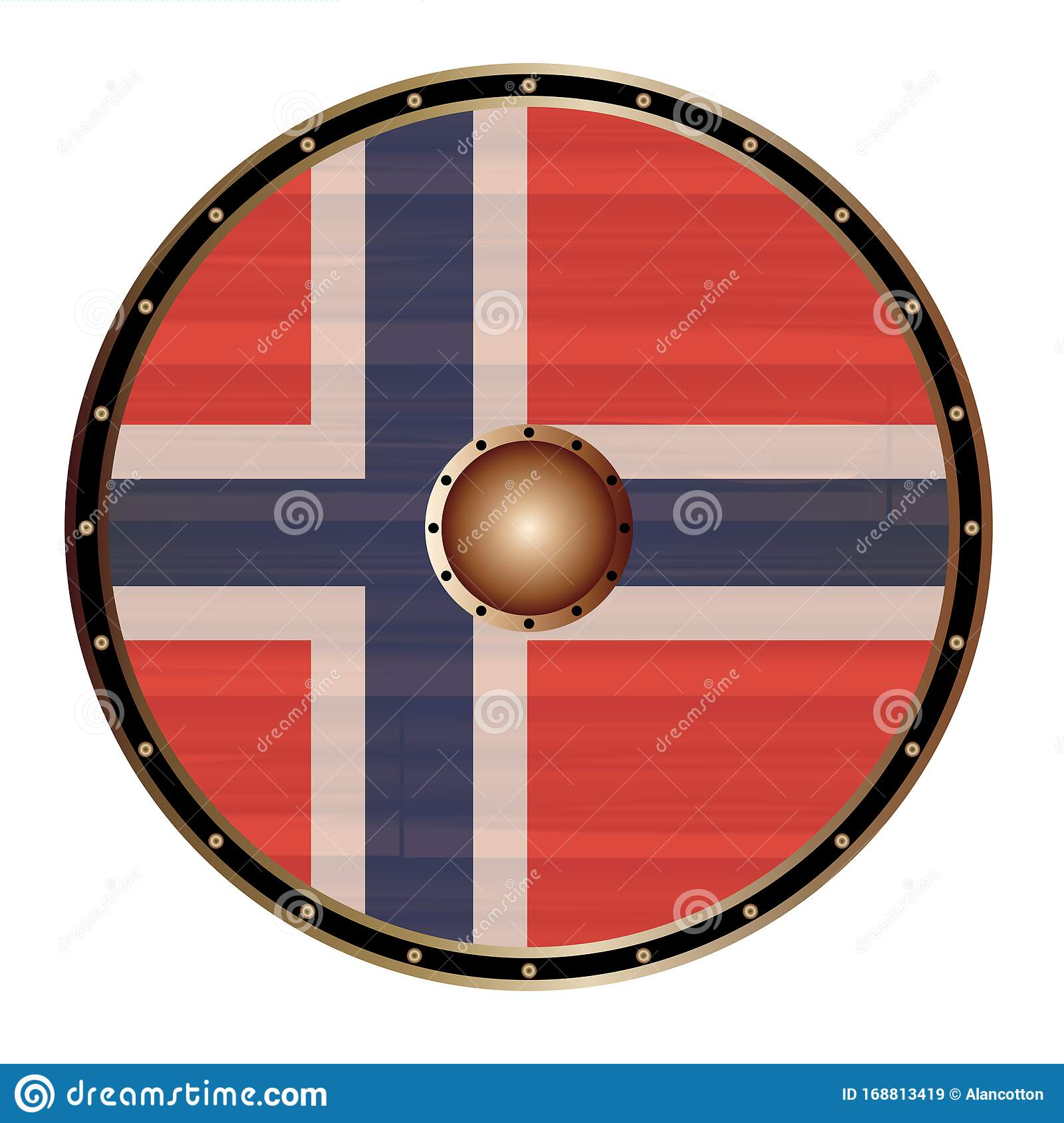 Round Viking Shield With Norwegian Flag Stock Vector ...
