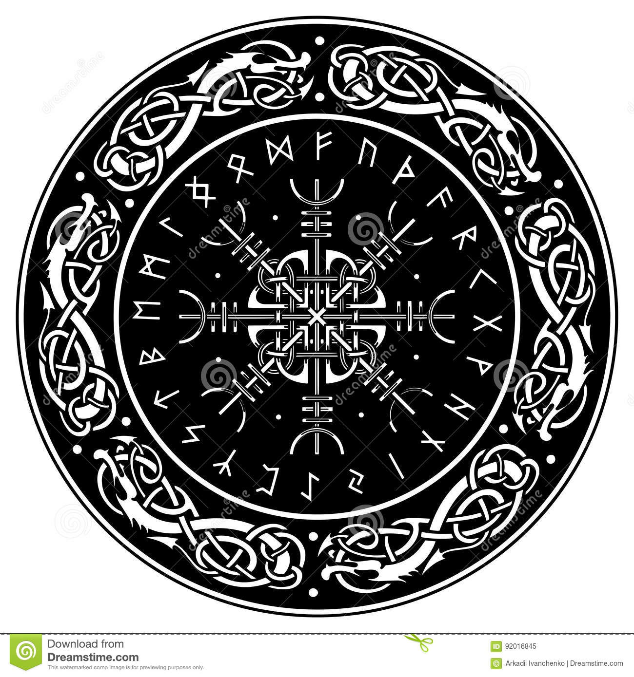 Viking Shield Decorated With A Scandinavian Pattern Of Dragons And Aegishjalmur Helm Awe