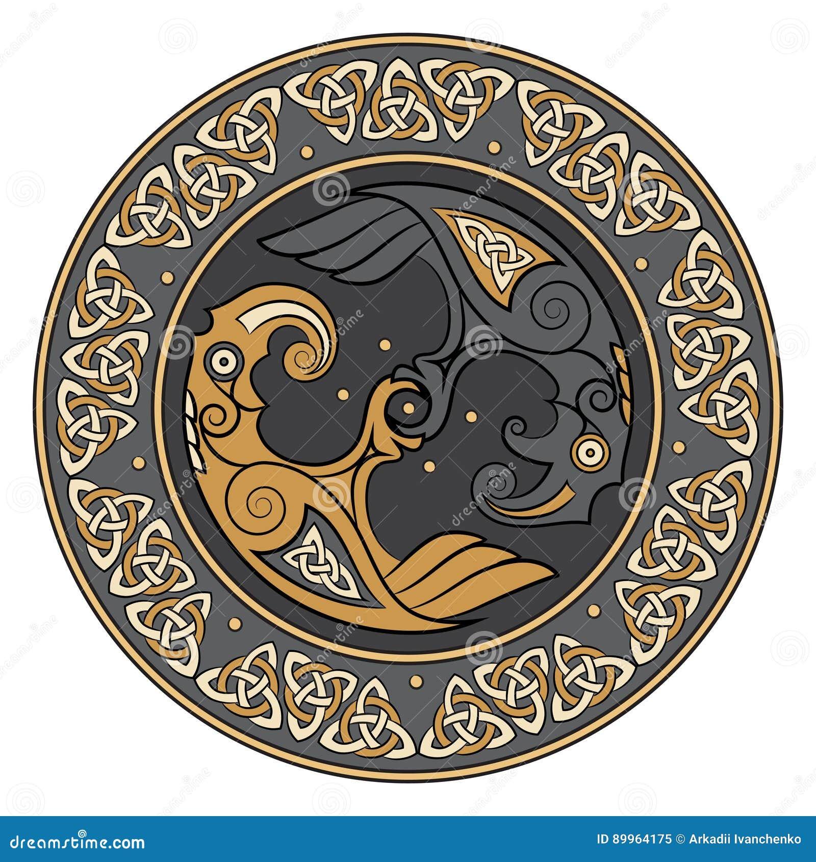 Viking Shield Decorated With A Scandinavian Pattern And Ravens Of God Odin Huginn