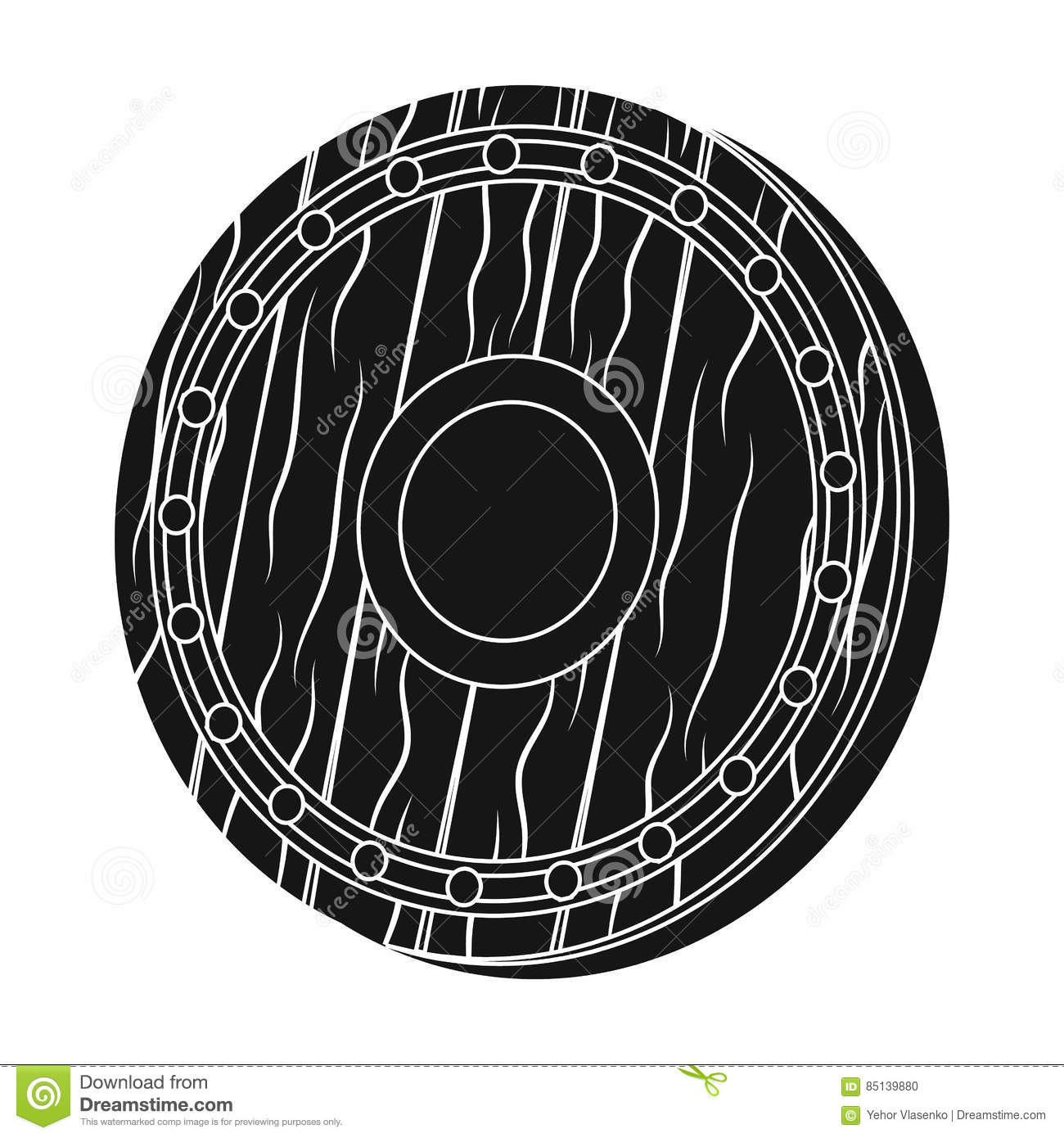 Viking Shield Icon In Black Style Isolated On White Background