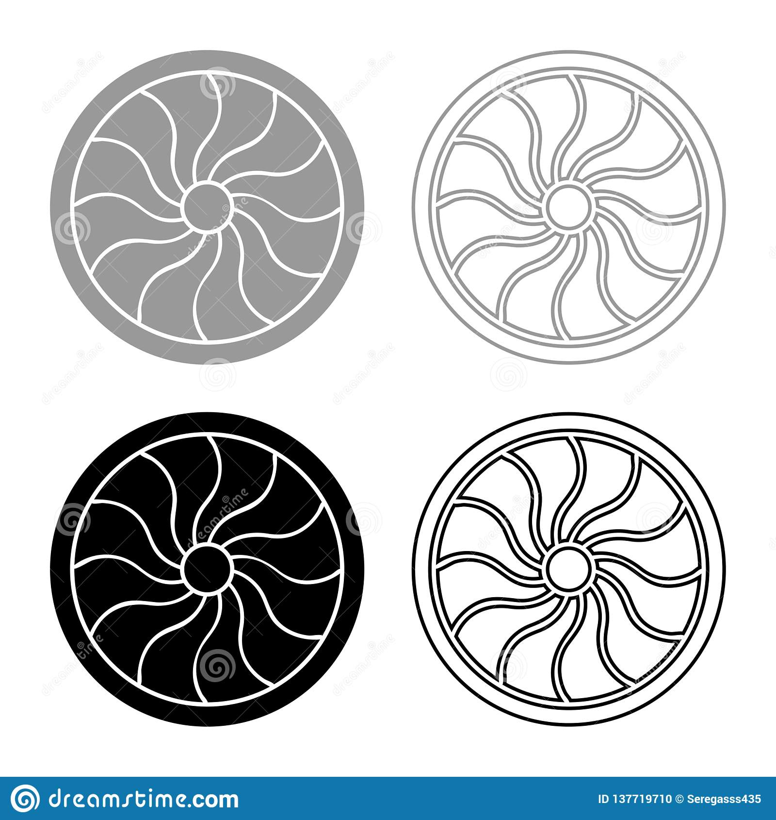 Viking Shield Icon Set Grey Black Color Illustration ...