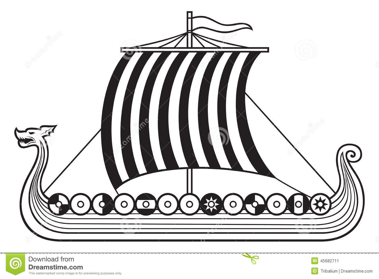Viking Ship Stock Vector - Image: 45682711