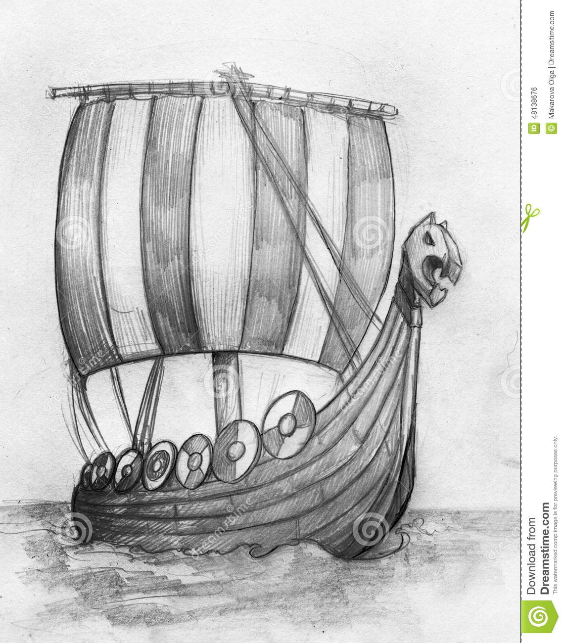 Viking ship drakkar sketch stock illustration illustration of boat