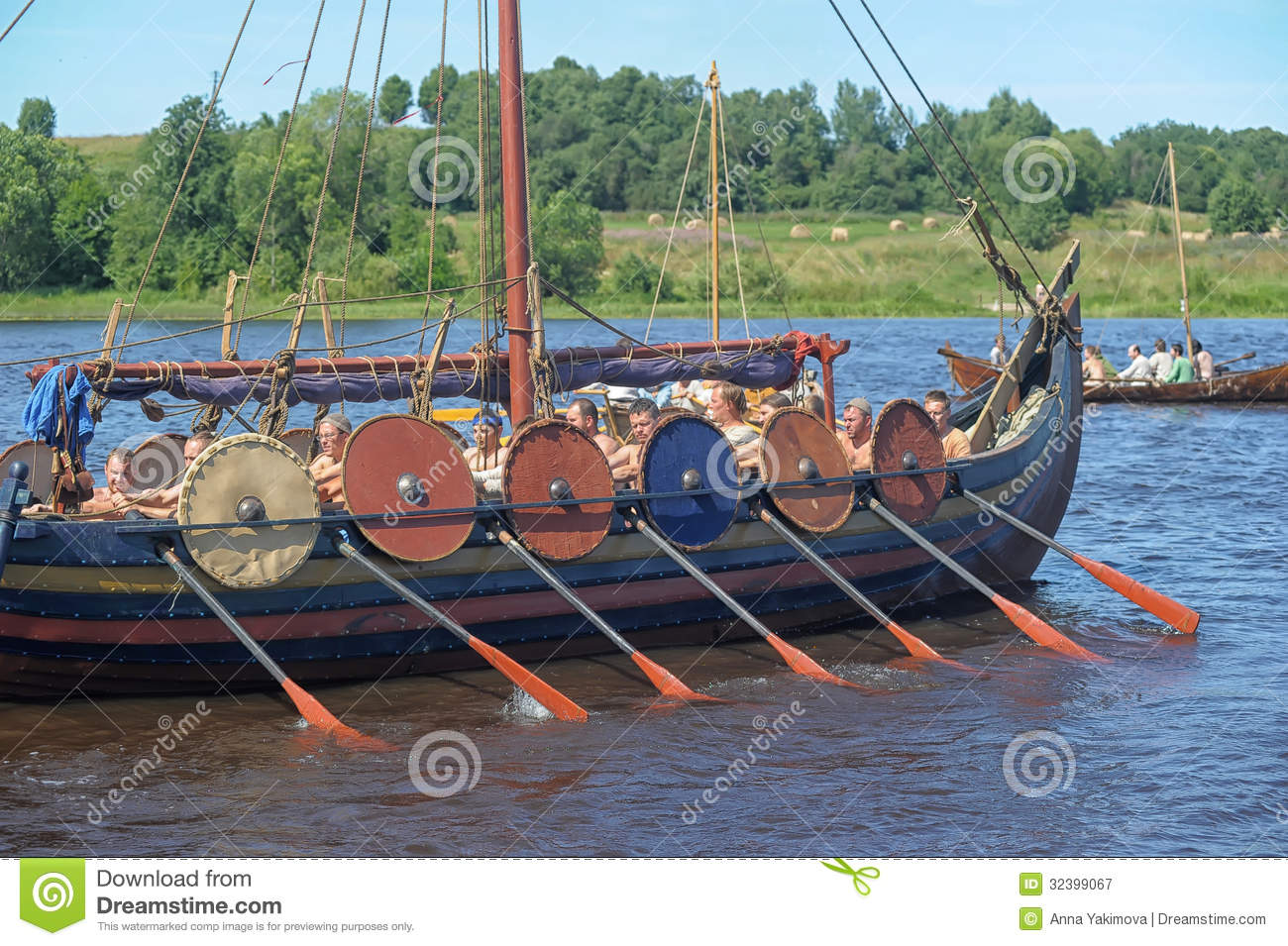 Viking Ship On The River Editorial Photography - Image: 32399067