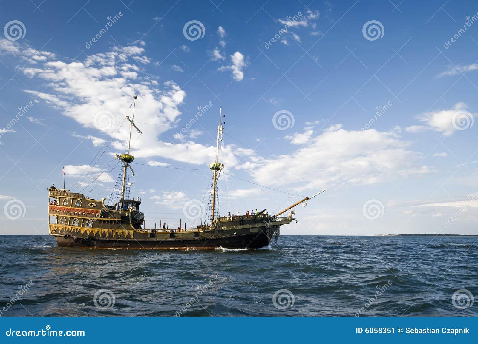 Download Viking ship at sea stock image. Image of darlowko, clear - 6058351