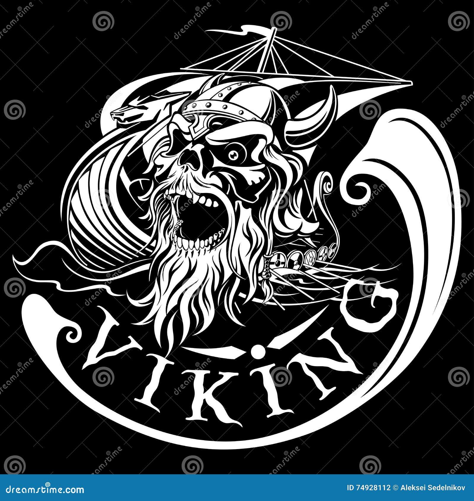 Viking skalle på en bakgrund av Drakkar, krigsskepp, vektorillustr