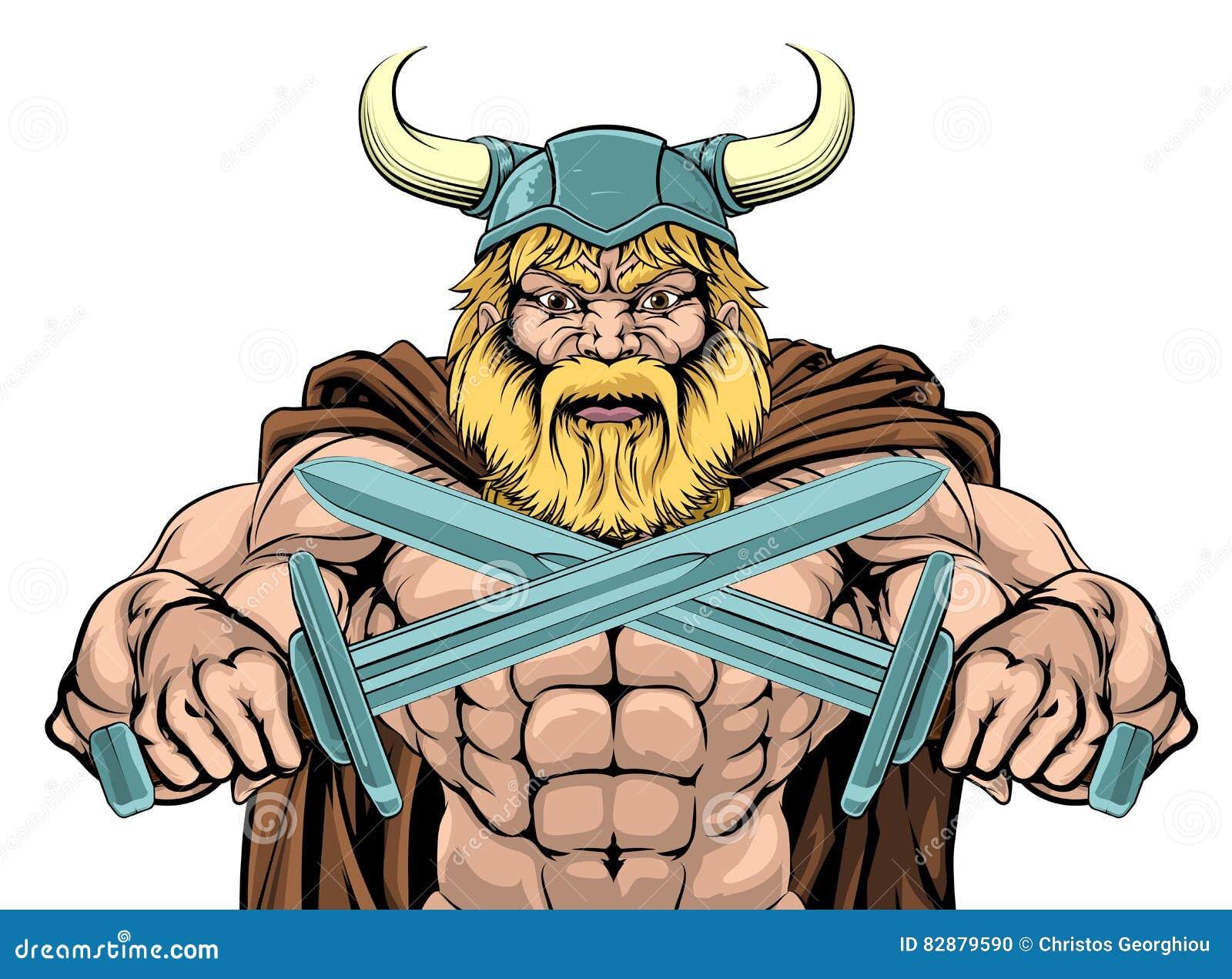 Viking Warrior Holding Swords