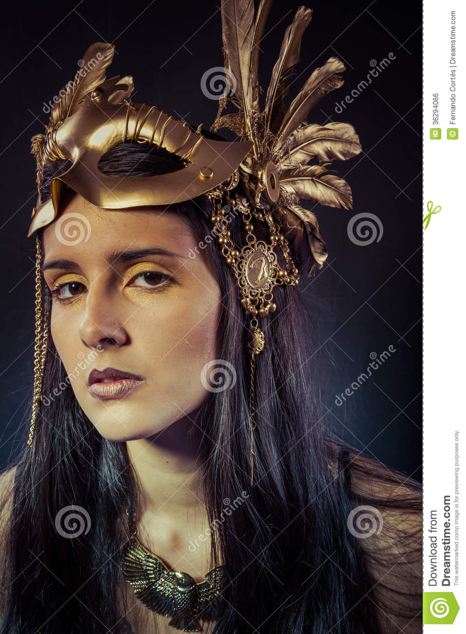 Viking Warrior Woman With Gold Mask Long Hair Brunette