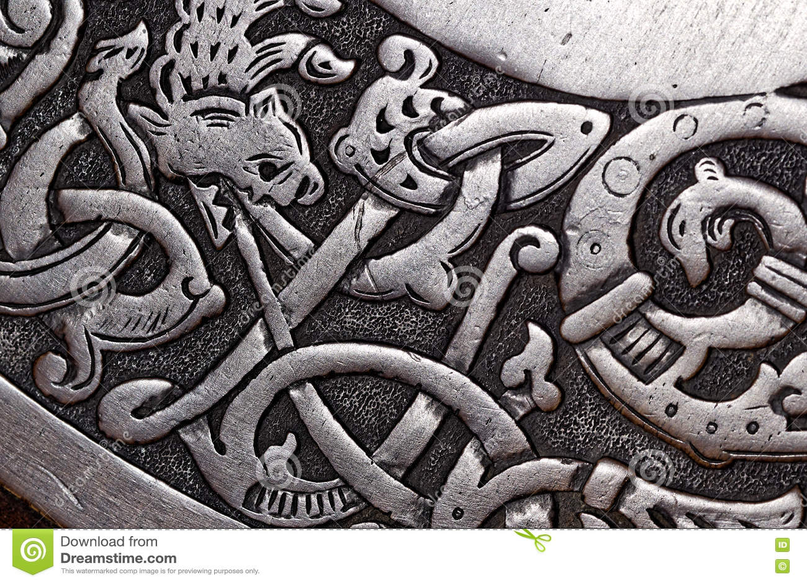 viking wood carving of a dragon stock photo image 72655703