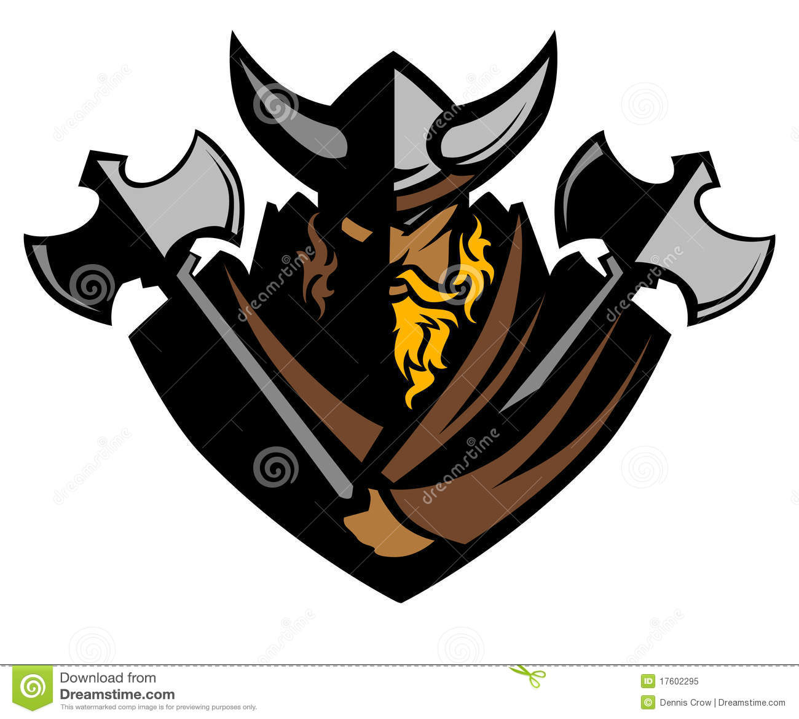 Vikingo/bárbaro con insignia de la mascota de las hachas