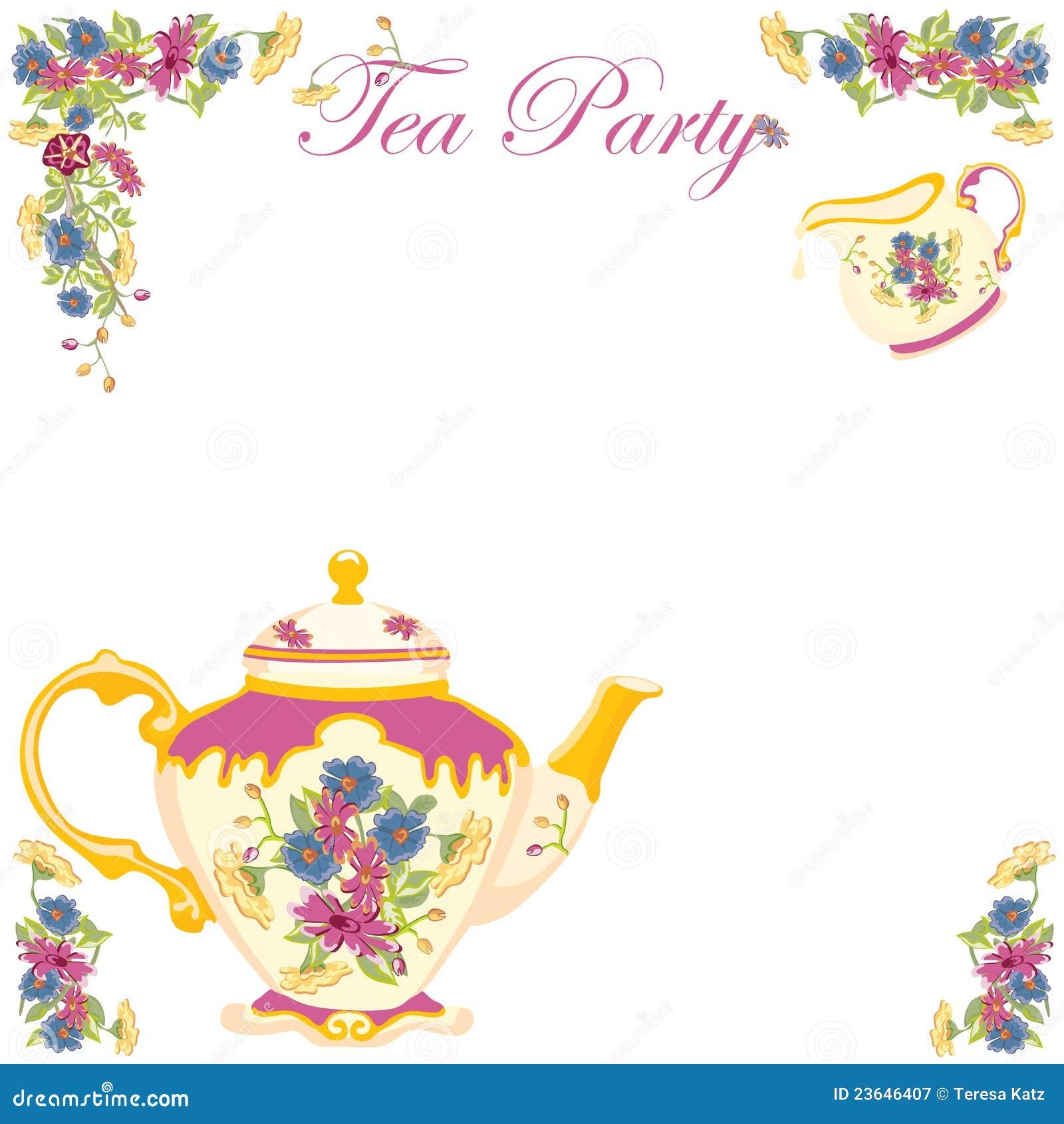 viktorianische tee-potenziometer-tee-party-einladung lizenzfreie, Einladung