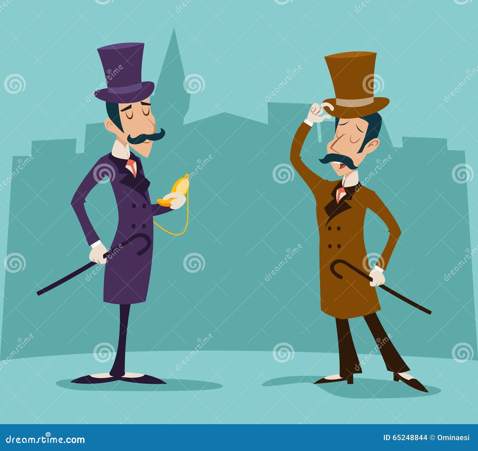 Viktoriansk gentlemanmöteaffärsman Cartoon