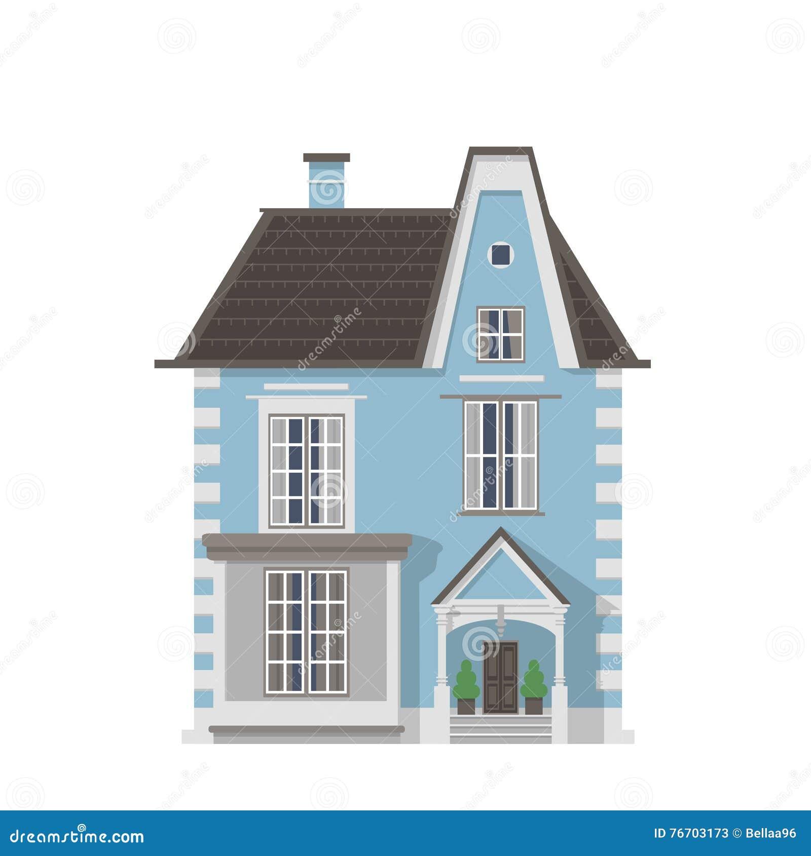 Viktorianskt blått byhus