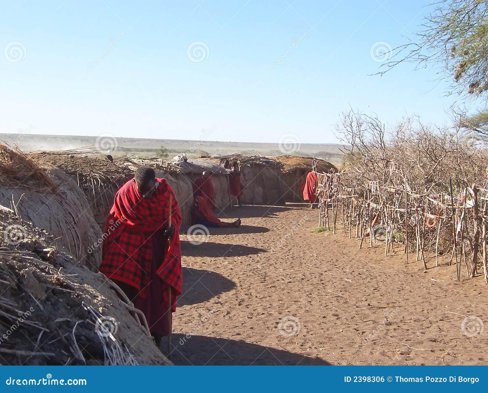 Vila da cabana de Massai