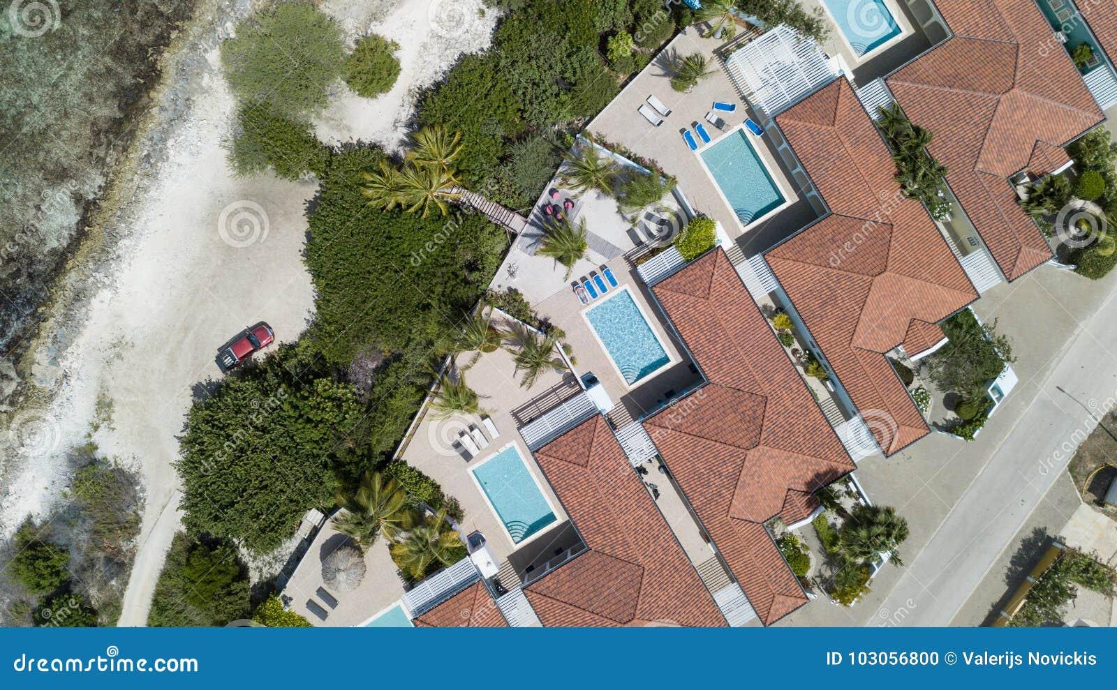 Villa Beach Coast Bonaire Island Caribbean Sea Aerial Drone Top View