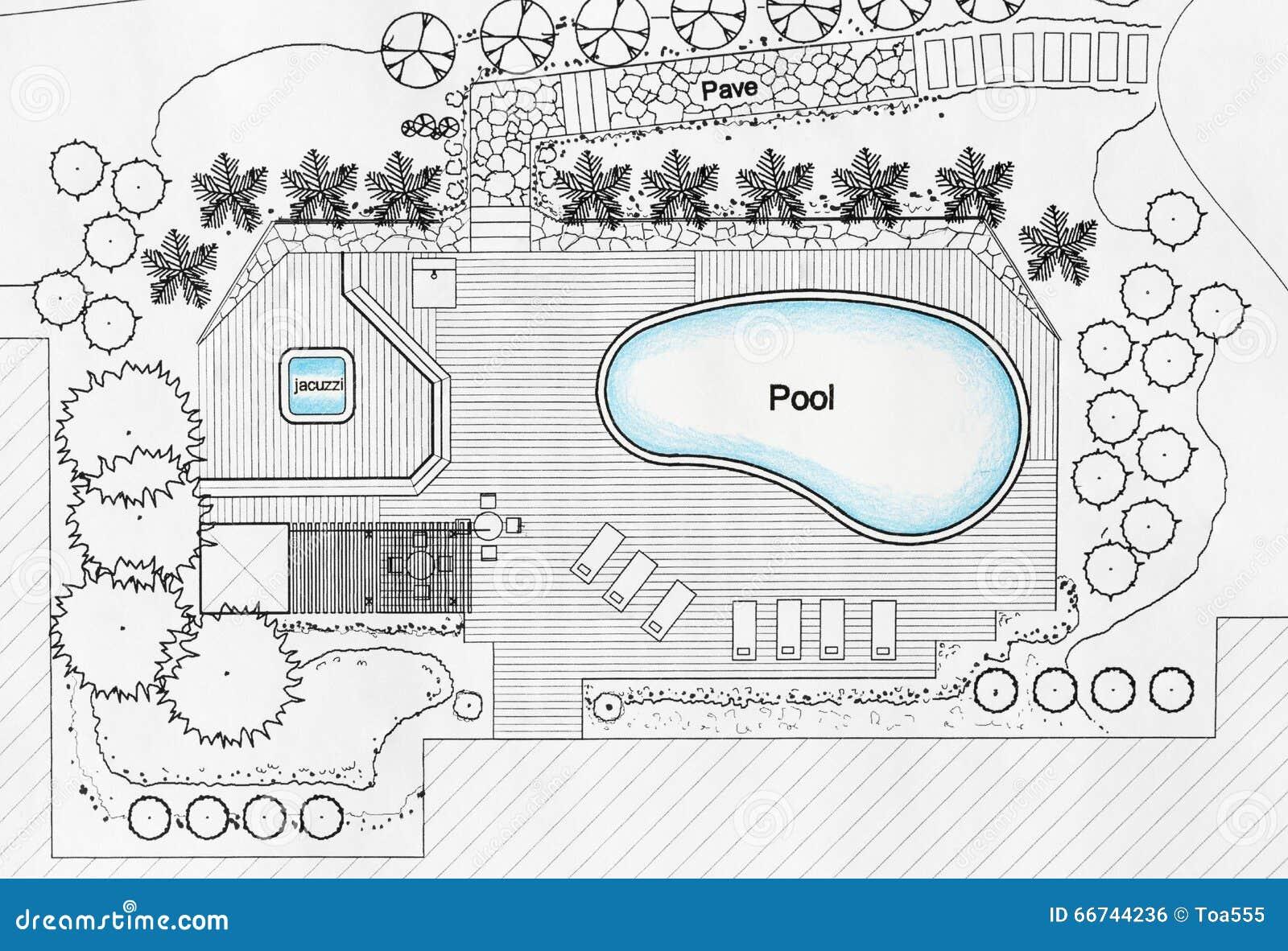 villa de luxe de designs pool for d 39 architecte paysagiste photo stock image 66744236. Black Bedroom Furniture Sets. Home Design Ideas