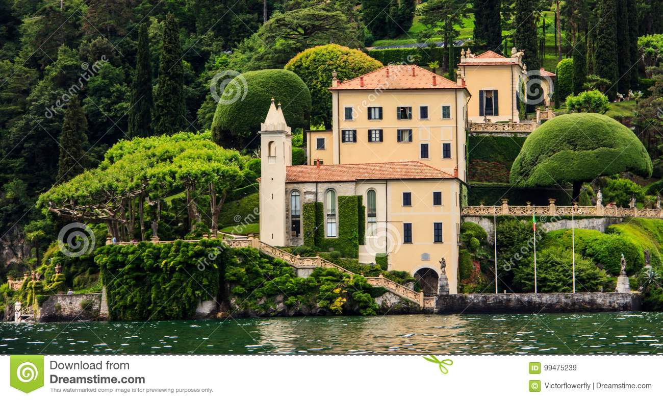The Villa Del Balbianello in a view from cruise ship on Lake Como, Italy, Europe