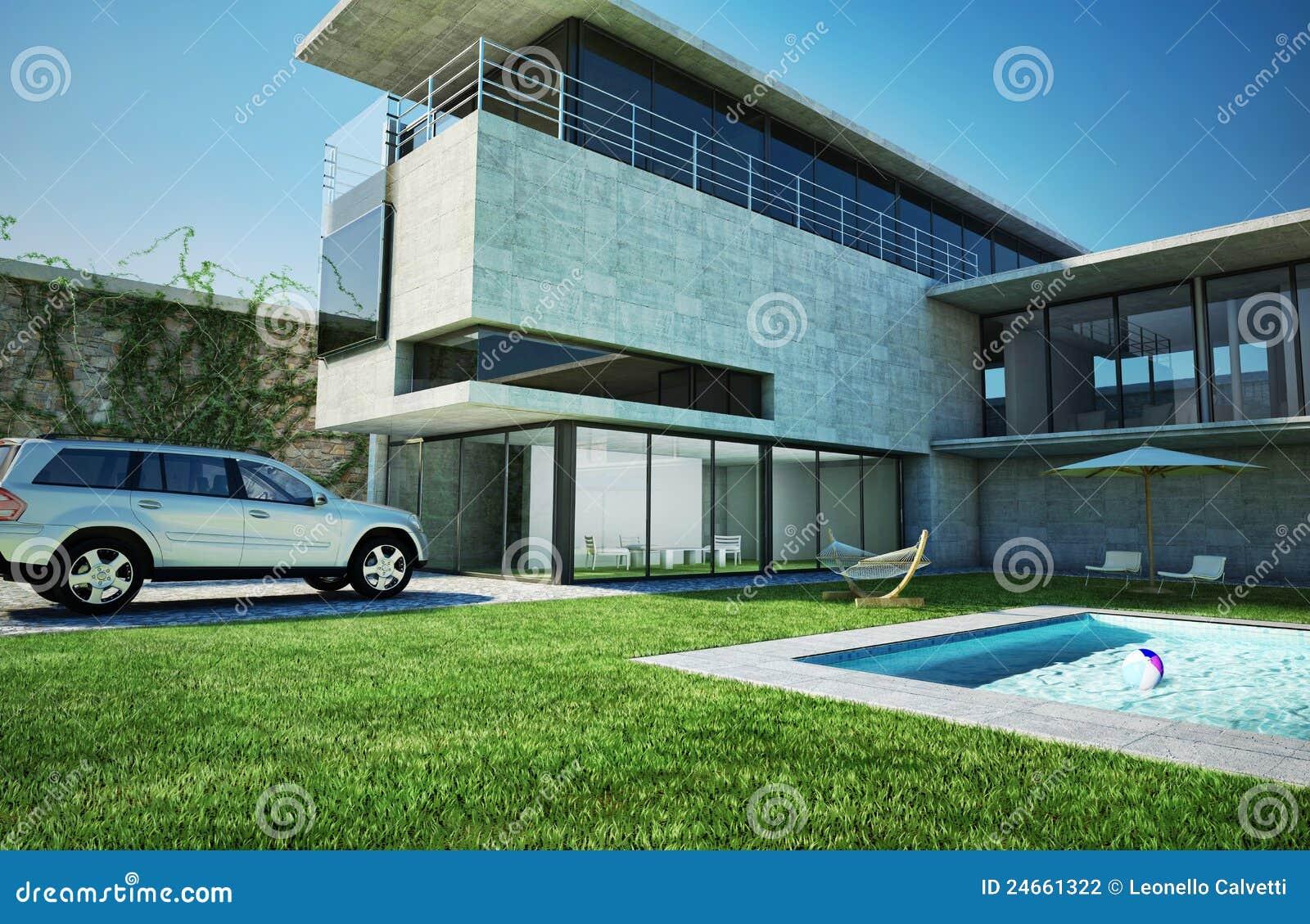 Villa di lusso moderna con la piscina fotografia stock for Case moderne lusso
