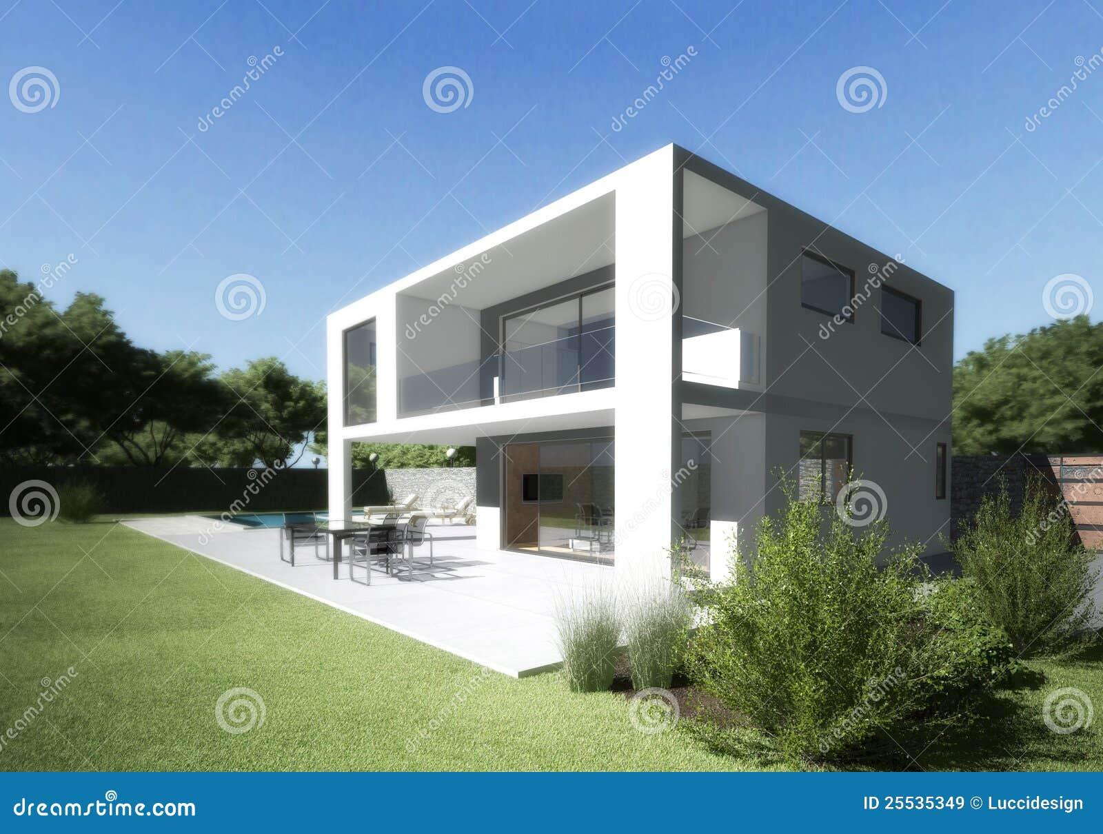 Villa moderne avec la terrasse et le jardin images libres for Villa moderne avec jardin